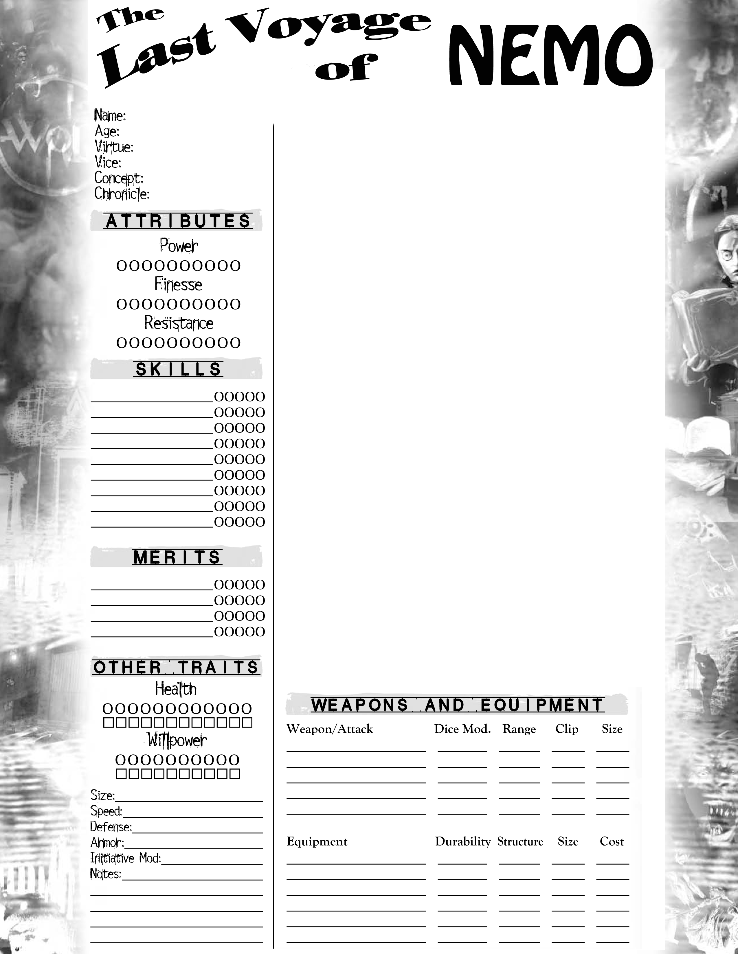 Mrgones Character Sheets New World Of Darkness